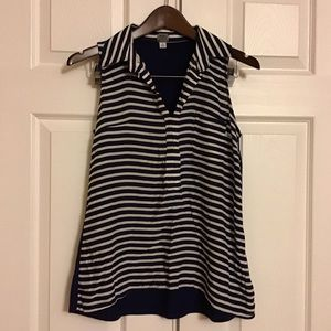 Poof! navy and white stripe sleeveless blouse